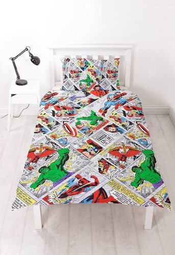 SINGLE BED DUVET COVER SET MARVEL AVENGERS COMIC STRIP RETRO THOR HULK SUPERHERO